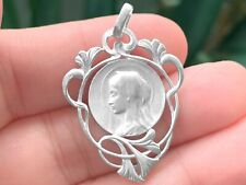 Médaille Religieuse Vierge Marie Style Antique, ajourée, cœur Mary Medal Silver