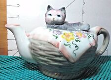 Teapot ,Gray Cat on Colorful Blanket ,Handcrafted, Collectible Kitchen Decor