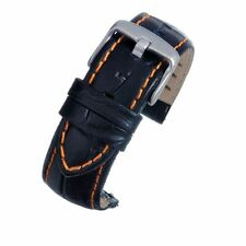 18mm Black Padded Leather Watch Strap Band Quick Release Spring Bar Orange Stich