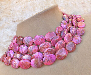 CRAZY LACE LAUGHTER STONE Agate Hot Pink Swirl Gem Statement Necklace Happy Lace