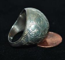 VINTAGE SILVER ETCHED DOME  RING BEAUTIFUL EXCELLENT CONDITION STAMPED SIAM SZ 8