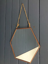 Copper Mirror Hexagonal Rustic Hanging Rope Rose Gold Medium NEW ON TREND