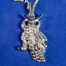 Silver Crystal Owl Necklace Pendant Gift