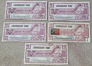 CANADIAN TIRE MONEY - FIVE $2 BILLS