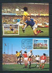 S.Tome E Principe 1978 Soccer Sport Argentina Maxi Stamped Cards x 7 (D372