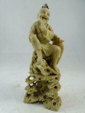 """Antique Soapstone Carved Statue Figurine Chinese Man 6"""" Tall China Vtg 1800s Old"""