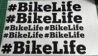 ALL COLOURS AVAILABLE V3 #BIKELIFE  6 assorted sized  Hashtag Bikelife stickers