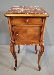 Antique French Walnut Pot Cupboard / Nightstand With Original Marble and Ceramic