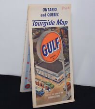 1966 Map Gulf Gas Oil Advertising Ontario Quebec Canada Colorful Vintage Artwork