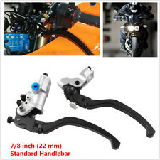 "Pair 22MM 7/8"" CNC Hydraulic Brake Clutch Pump Master Cylinder Reservoir Levers"