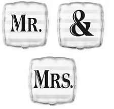 """3 x 18"""" Foil Helium Balloons Mr & Mrs Wedding Party Decoration Square Silver"""