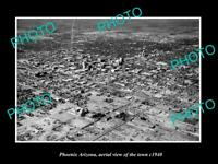 OLD POSTCARD SIZE PHOTO PHOENIX ARIZONA, AERIAL VIEW OF THE TOWN c1940 1