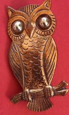 Vintage Owl Brooch Pin Copper