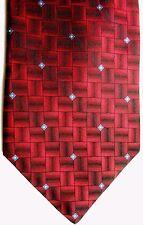 "Burma Bibas Men's Silk Tie 59.5"" X 4"" Dark Reds Striping w/ blue/white Diamonds"