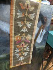 ancien fragment de tapisserie epok XVII XVIII aubusson laine acanthe 102x35cm