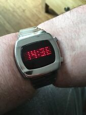 Rare Red Led Zeon Tech All Stainless Steel Digital Watch