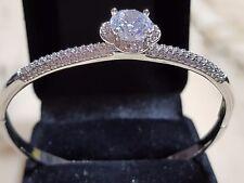 Diamond style  WHITE GOLD 18K  TOPAZ  Bangle Bracelet With Opening Catch
