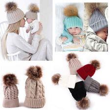 CALDO INVERNO MAMMA E NEONATO BAMBINO/bambina Cappelli Maglia a uncinetto palla