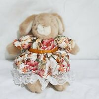 """Vintage Toy Stuffed Animal Plush Bunny Girl with Floral Dress Dressed Bunny 14"""""""