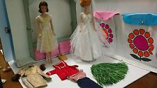 Vintage Barbie Bubblecut Midge dolls, case and clothes lot