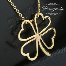 18K 18CT Yellow GOLD Plated Lucky FOUR LEAF CLOVER Pendant NECKLACE Gift L103