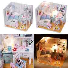 Kits Diy Wood Dollhouse Bed Miniature With Led+Furniture+cover Magic Doll house