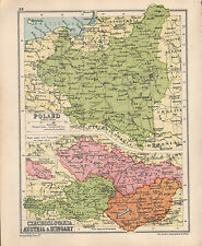 1934 MAP ~ POLAND ~ CZECHOSLOVAKIA AUSTRAI & HUNGARY BUDAPEST PRAGUE GRODNA LODZ