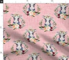 New listing Floral Cow Pink Baby Girl Blush Mauve Animals Spoonflower Fabric by the Yard