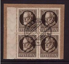 Bavière, d 12, Posté, testé, Dienst, lettre pièce, bloc de quatre (21167)