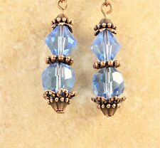 Light Blue Glass Crystal Earrings with Antique Copper Bead Caps