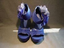 BLUE Velvet Chiffon Flower Peep toe Pump High Heel Platform Women's Shoes SZ 6