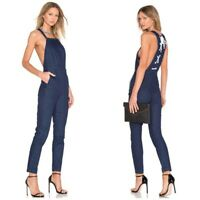 kendall + kylie navy blue overalls jumpsuit lace up s small long
