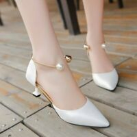 Ladies Mid Kitten Heels Sweet Pearl Shoes Fashion Pointed Toe Sandals Party Pump