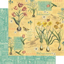 4 Pages Graphic 45 Time To Flourish April Cardstock Paper Spring Flowers Easter
