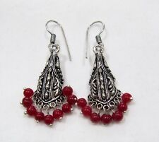 Beautiful Indian Earrings , Silver Oxidized Dangling Earrings With Red Beads.