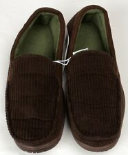 Mens DEARFOAMS Mocassin Style Brown Corduroy House Slippers Size Small Shoes