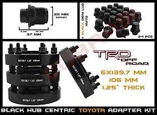 """4 Toyota 6x5.5"""" 1.25"""" Black Hub Centric Wheel Spacers + 24pc Black Mag Lug Nuts"""