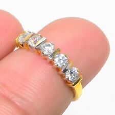 Gold Tone Wedding Fine Jewelry Gift Natural Russian White Topaz Ring Mesmerising