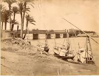 Zangaki, Egypte, Le Caire, Pont Qasr al-Nil, Pont du Palais Vintage albumen prin