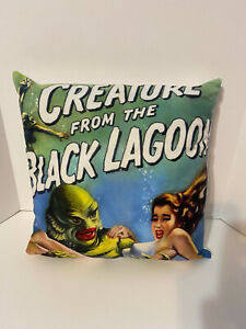 """New/Unused Pillow Case 18"""" by 18"""" Horror Creature Black Lagoon PILLOW CASE ONLY"""