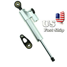 CNC Steering Damper Motorcycle Stabilizer Linear Reversed Safety Control Silver