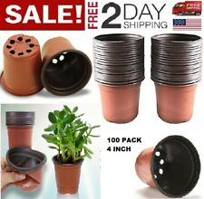 Plastic Planting Pots Seed Starter Grow Nursery Flower Herb Plant 100Pack 4 Inch