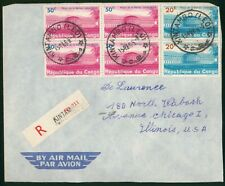 Mayfairstamps Congo 1965 Kintambo to Chicago IL Registered Airmail Cover wwr2723