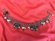 Betsey Johnson Bonjour Butterfly Light & Dark Blue Crystal Heart Pearl Bracelet