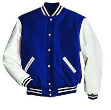 Original Windhound College  Jacke blau mit weißen Echtleder Ärmel L