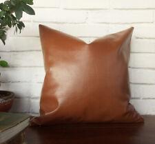 Cognac brown faux leather -pure linen pillow cover-16''x16''