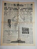 N797 La Une Du Journal Le Matin 9 décembre 1941 États-Unis l'Angleterre