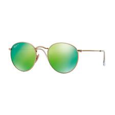 RayBan Round Flash Lenses POLARIZED Sunglasses Gold Green Flash 3447 53-21