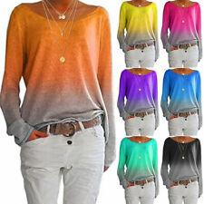 Damenmode Gradient Damen T-Shirt Rundhals-Langarmhemd Pullover Tops
