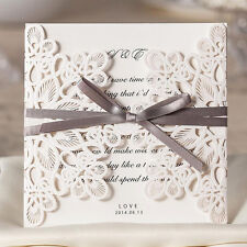 Personalized White Wedding Invitations Cards Bowknot With Envelopes Seal